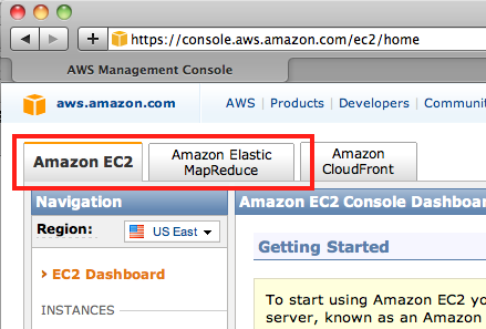 Screen shot of AWS console tabs